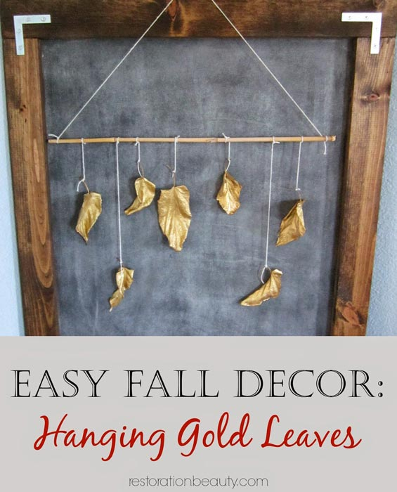 easy-fall-decor,-hanging-gold-leaves