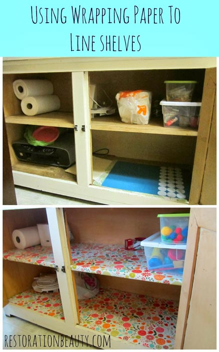 using-wrapping-paper-to-line-shelves-DIY-Shelf-Liners